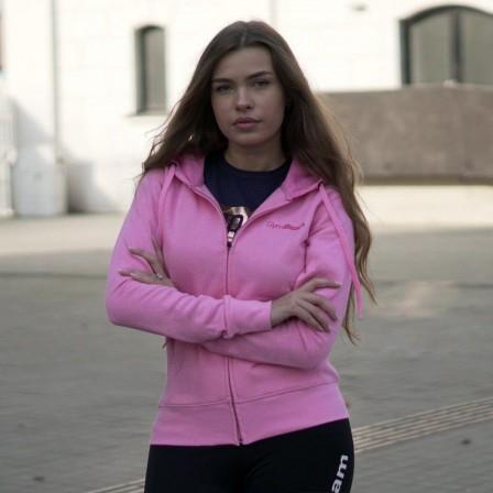 Gym Beam Zipper Hoodie Baby Pink - Дамски суичър