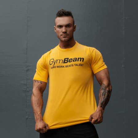 Gym Beam T-shirt Hard Work Beats Talent Yellow