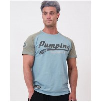 """Legal Power T-shirt """"PUMPING ERCAN"""" 9700-869 Taupe Grey/Stone Blue"""