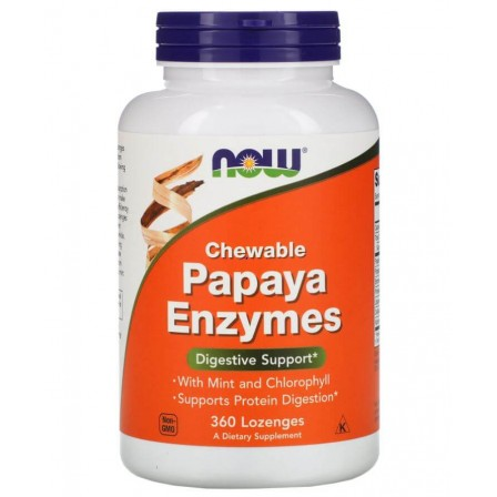 NOW Foods Papaya Enzymes Chewable 360 Lozenges