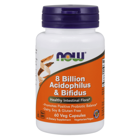 NOW Foods 8 Billion Acidophilus & Bifidus 60 veg caps.
