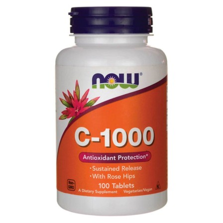 NOW Foods Vitamin C-1000 Sustained Release with Rose Hips 100 tabs.