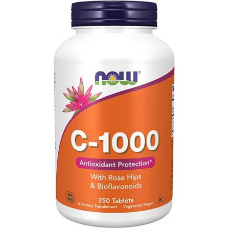 NOW Foods Vitamin C-1000 With Rose Hips and Bioflavonoids 250 tabs.