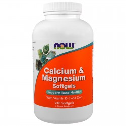 NOW Foods Calcium and Magnesium with vitamin D3 and Zinc 240 softgels