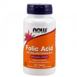 NOW Foods Folic Acid with Vitamin B12 800mcg 250 tabs.