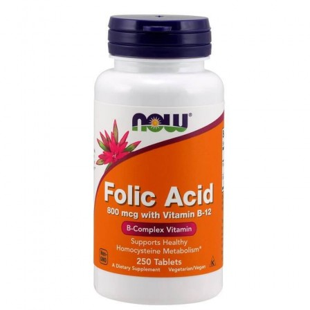 NOW Foods Folic Acid with Vitamin B12 800mcg 250 tabs.