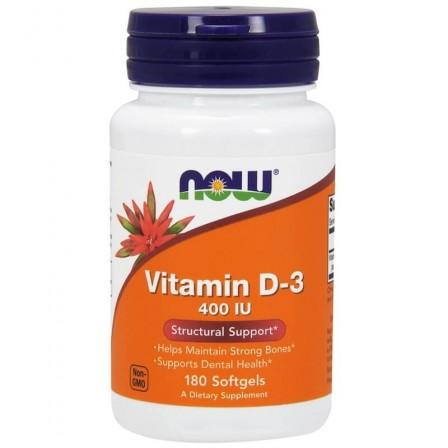 NOW Foods Vitamin D 3 400 IU 180 softgels.