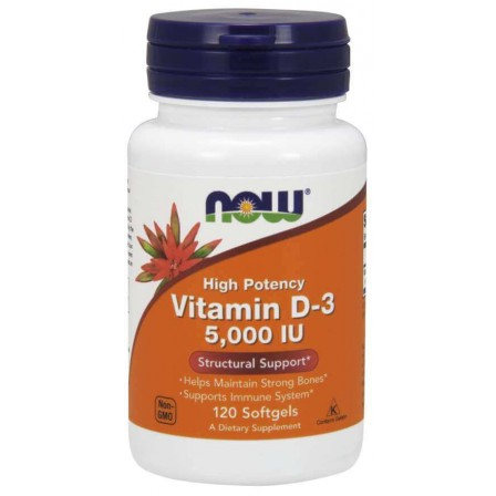 NOW Foods Vitamin D-3 5000 IU 120 softgels