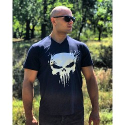 Тениска The Punisher V-Neck Dark Blue