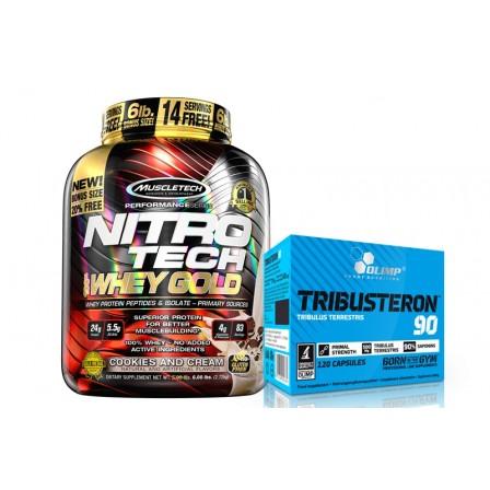 MuscleTech Nitro Tech 100% Whey Gold 2510 gr. + Olimp Tribusteron 90 120 caps.