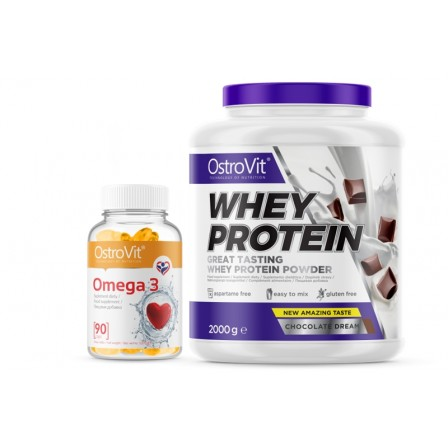 OstroVit Whey Protein 2000 gr. + OstroVit Omega 3 90 caps.