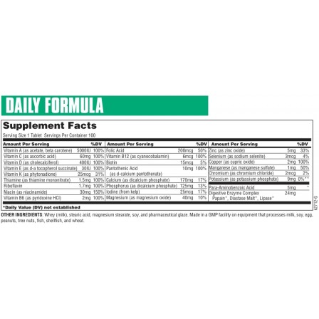 Universal Nutrition Daily Formula 100 tabs.